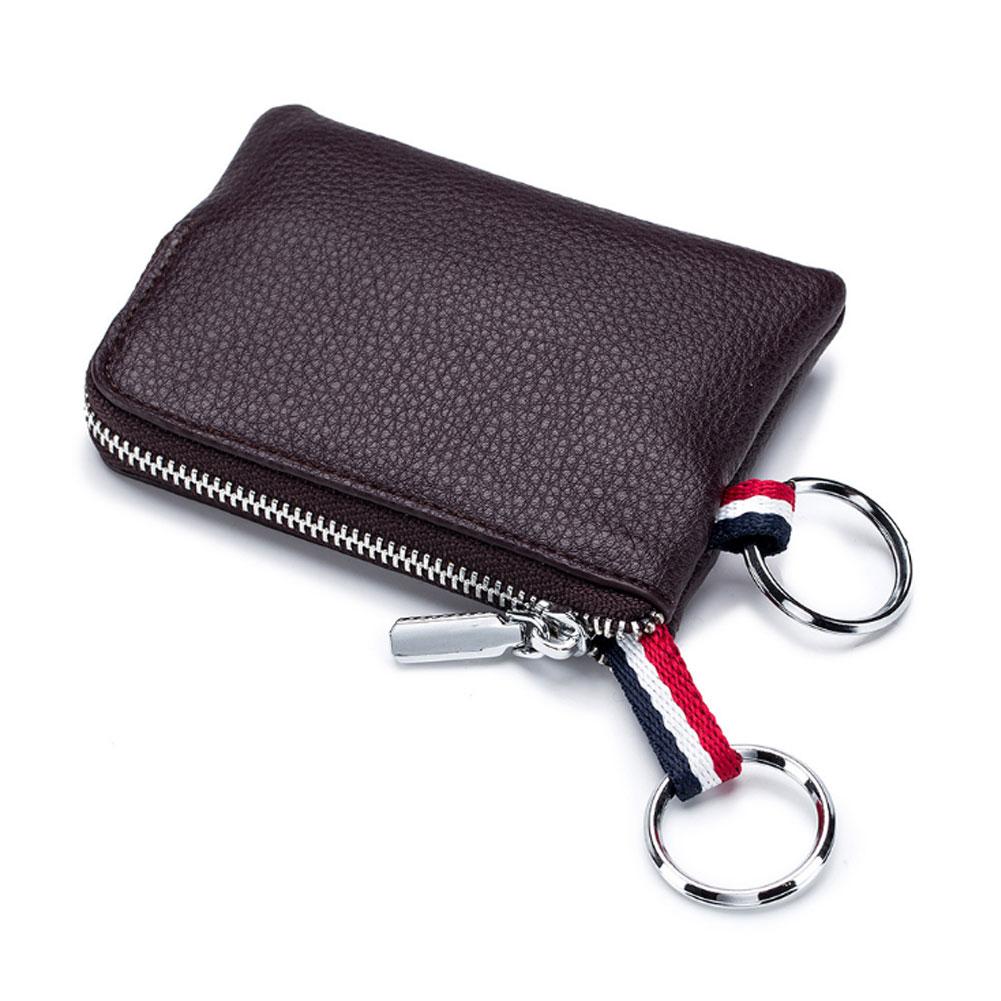 Mini Coin Purse Men Super Soft Leather Car Key Housekeeper Bags Zipper Bag Handheld Function Packs Brown