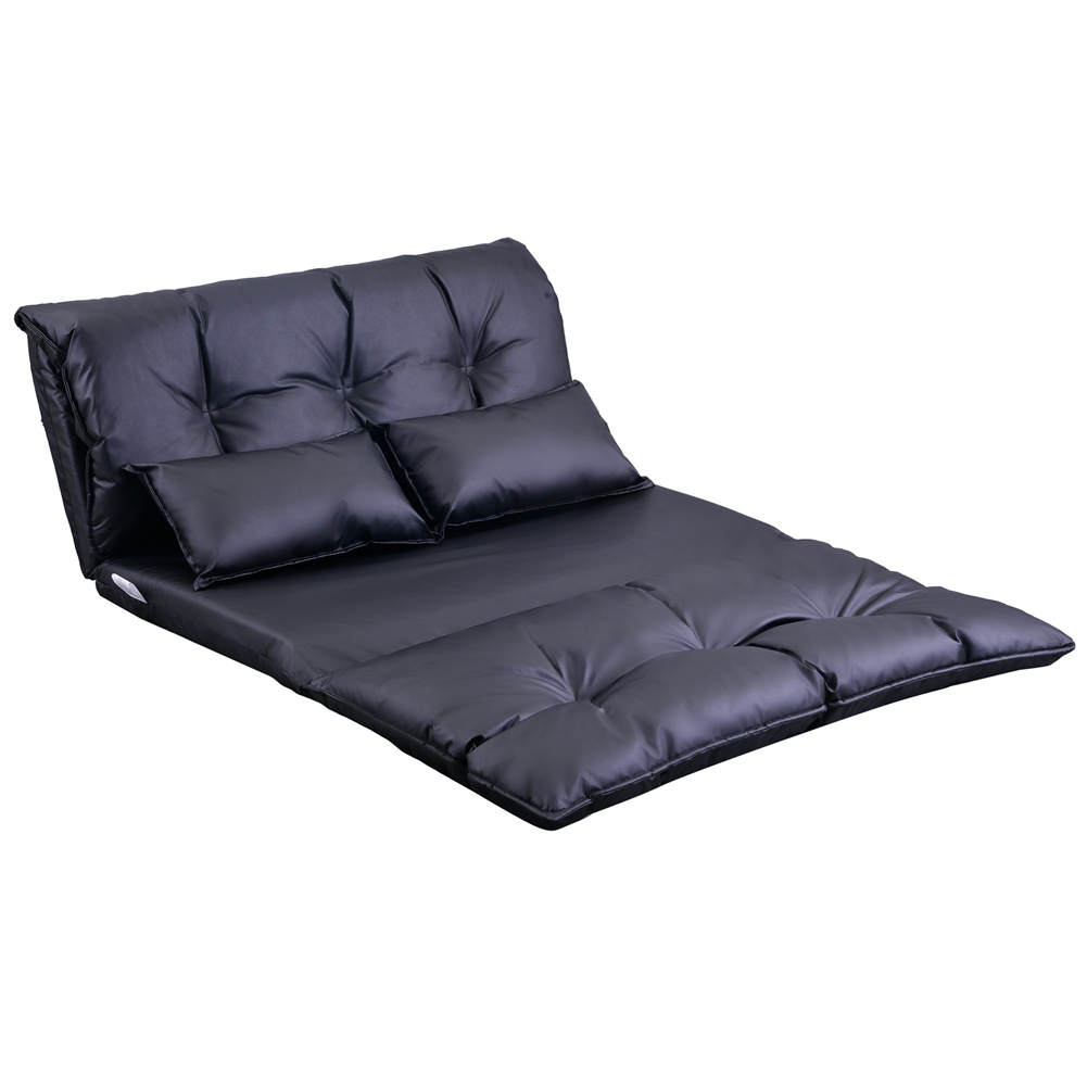 [US Direct] Pu Leather Floor  Chair Adjustable Sofa Bed Lounge Floor Mattress Lazy Man Couch With Pillows Black