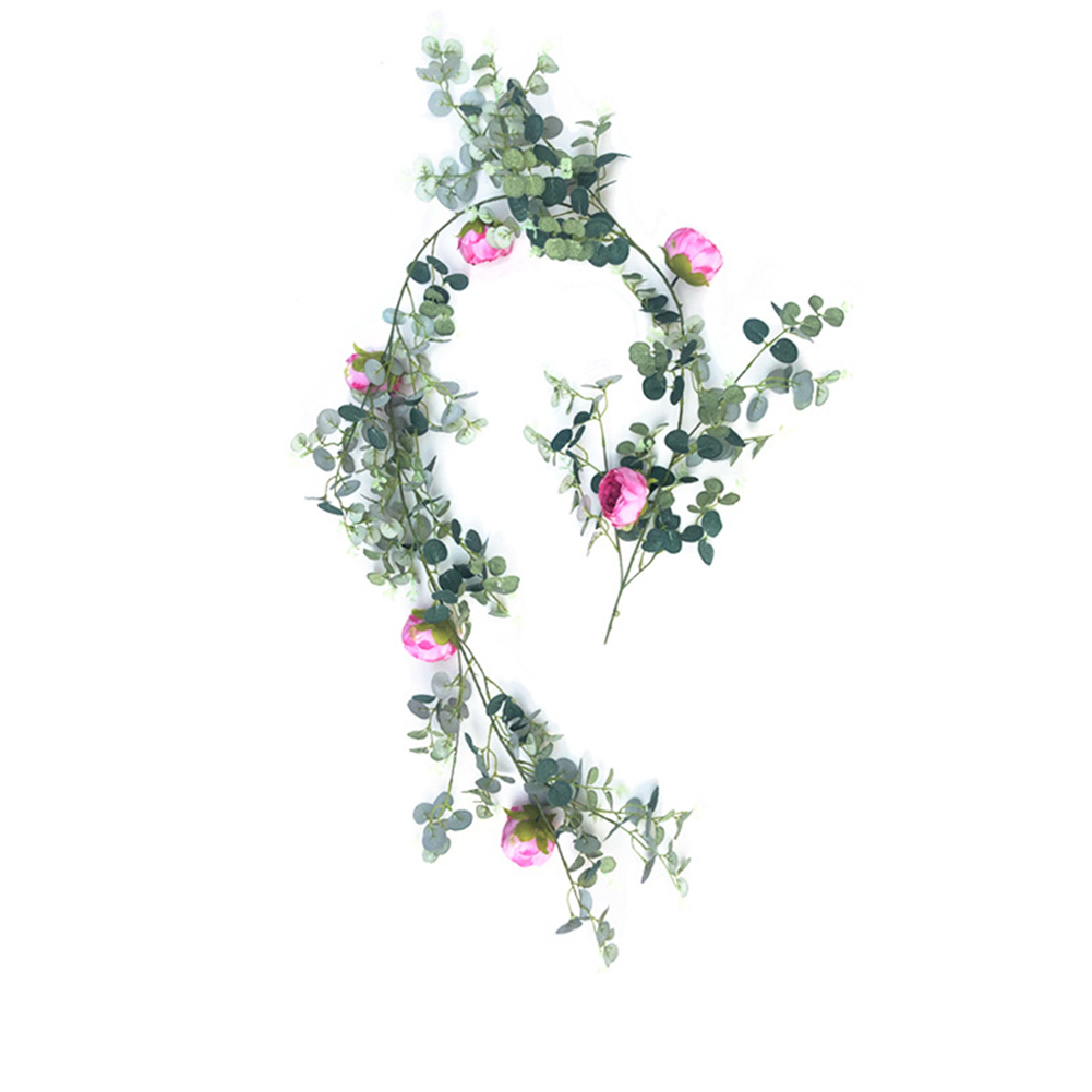 Simulate Eucalyptus Leaves Rattan with Rose for Wedding Background Wall Decor