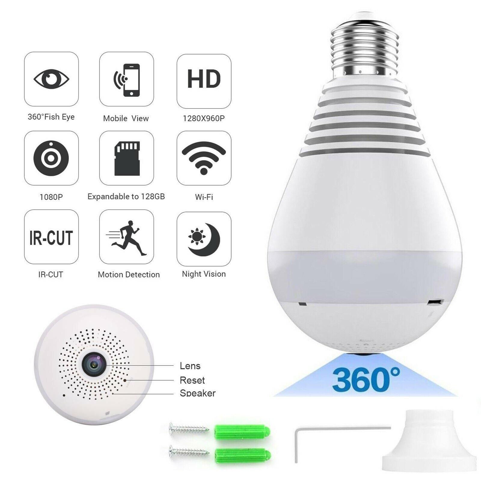 HD 360 Panoramic Hidden WiFi IP Camera Light Bulb Home Security Lamp Camera 960P (no card)