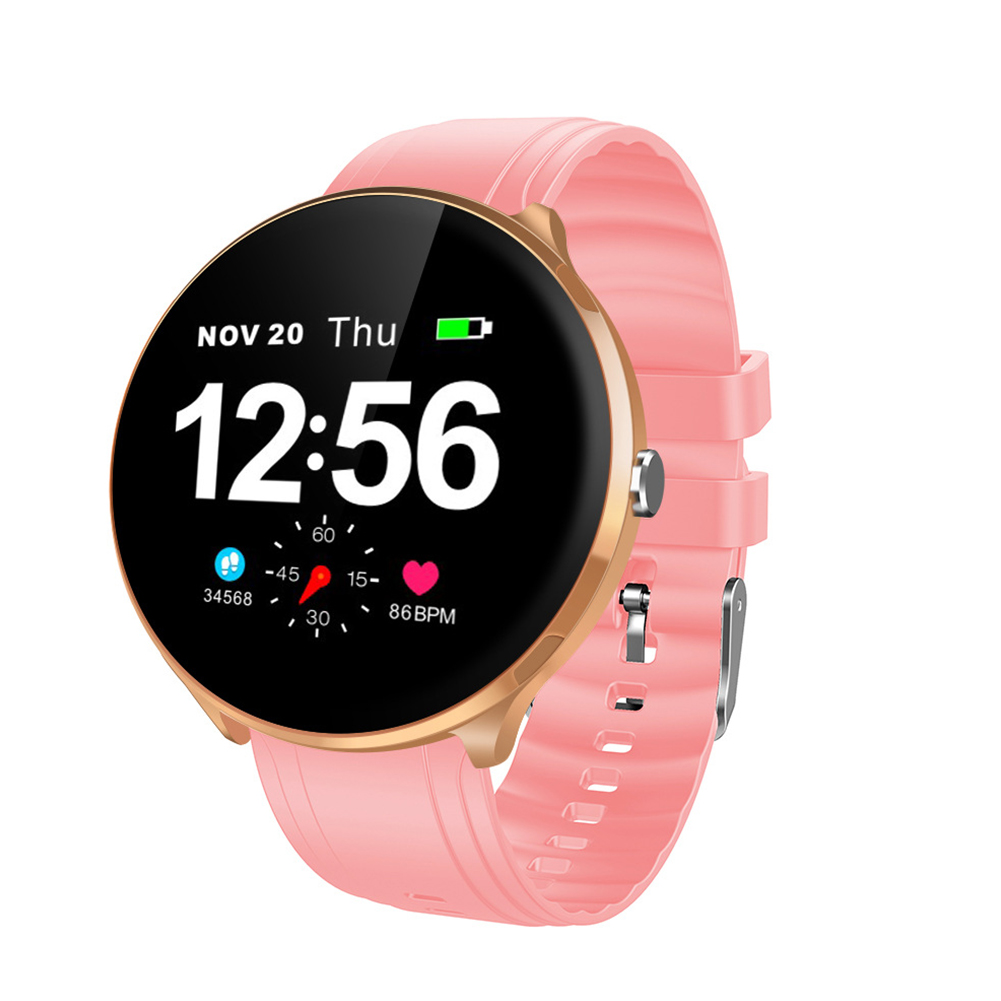 LEMFO V12 Full Touch Smart Watch Waterproof Heart Rate Monitoring Blood Pressure Smart Wristband Golden frame + pink silicone