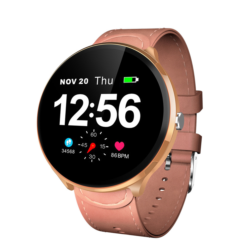 LEMFO V12 Full Touch Smart Watch Waterproof Heart Rate Monitoring Blood Pressure Smart Wristband Golden frame + pink leather