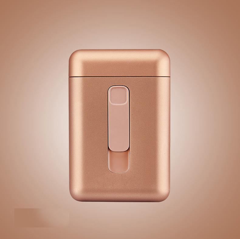 Cigarette Holder Case Lighter 2 in 1 USB Windproof Flameless Electronic Charging Cigarette Lighter Gold_DH9008