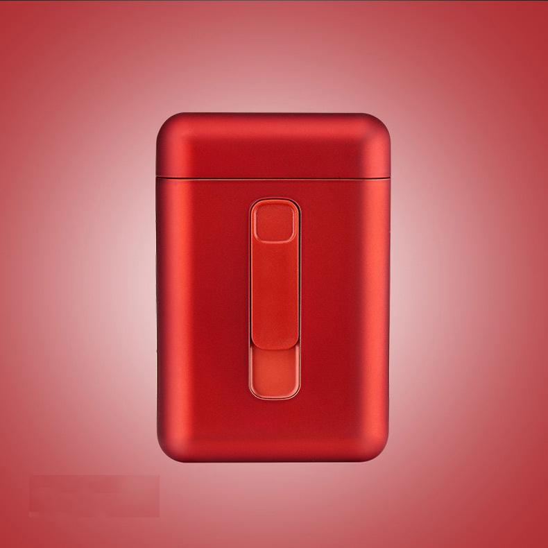 Cigarette Holder Case Lighter 2 in 1 USB Windproof Flameless Electronic Charging Cigarette Lighter red_DH9008