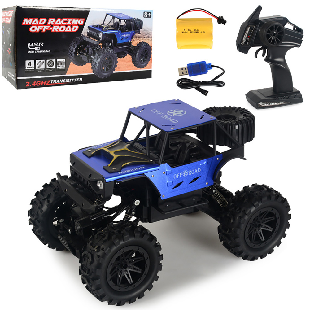 2.4G Remote Control Wireless Electric Quattro 1:14 Alloy Off-road Rock Crawler Children Toy with Light blue_1:14