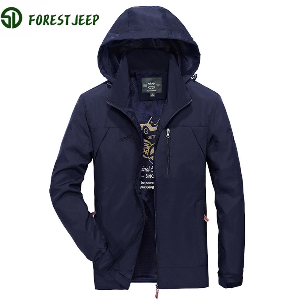 Male Sports Jacket Slim Hoodie Zippered Windproof Cycling Skiing Outwear black_L