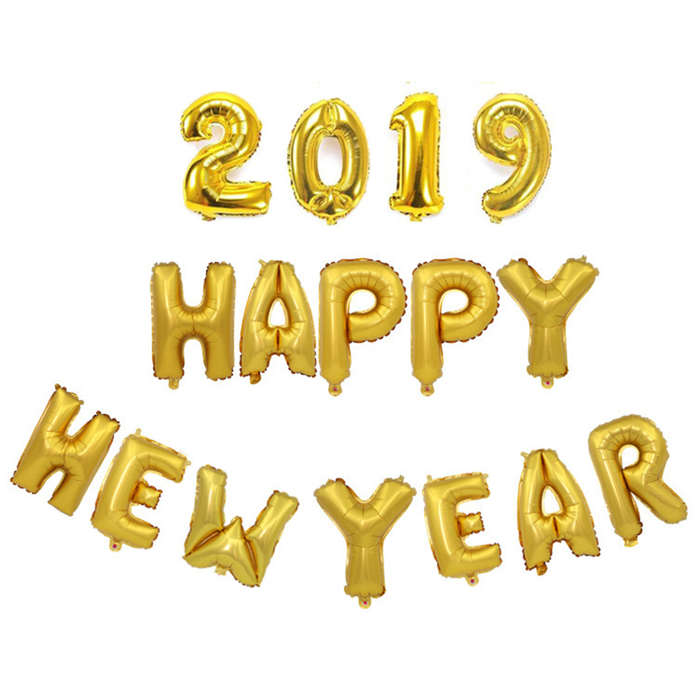 16 Inches 2019 Happy New Year Letters Balloon Aluminum Foil Balloon Set for New Year Home Decoration Gold