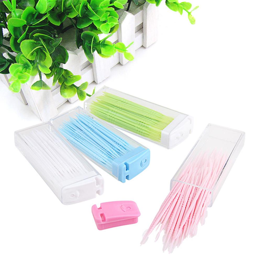 50pcs/lot Portable Disposable Toothpicks Teeth Cleaning Dental Flosser Travel Two-head Floss Sticks Color Random
