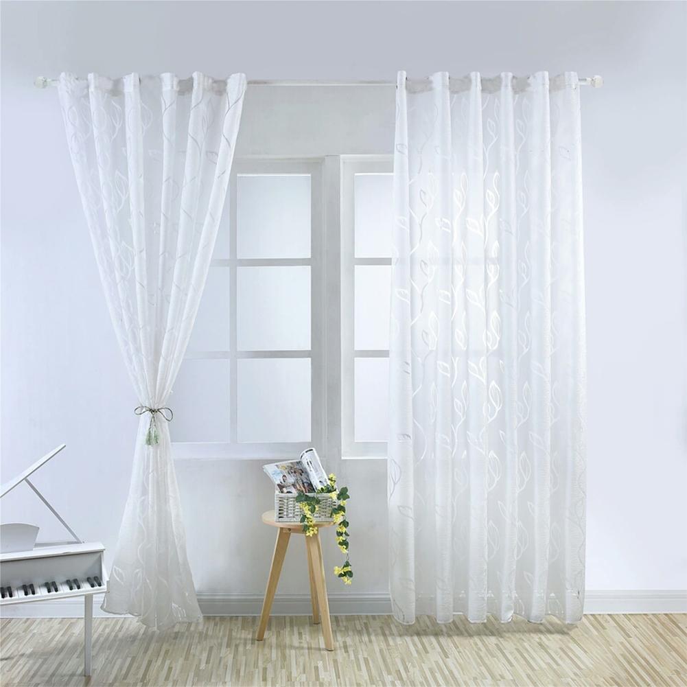 1PC Luxury Fashion Jacquard Leaf Semi-blackout Curtain Drape for Home Hotel Decoration  white_100X200CM rod Pocket
