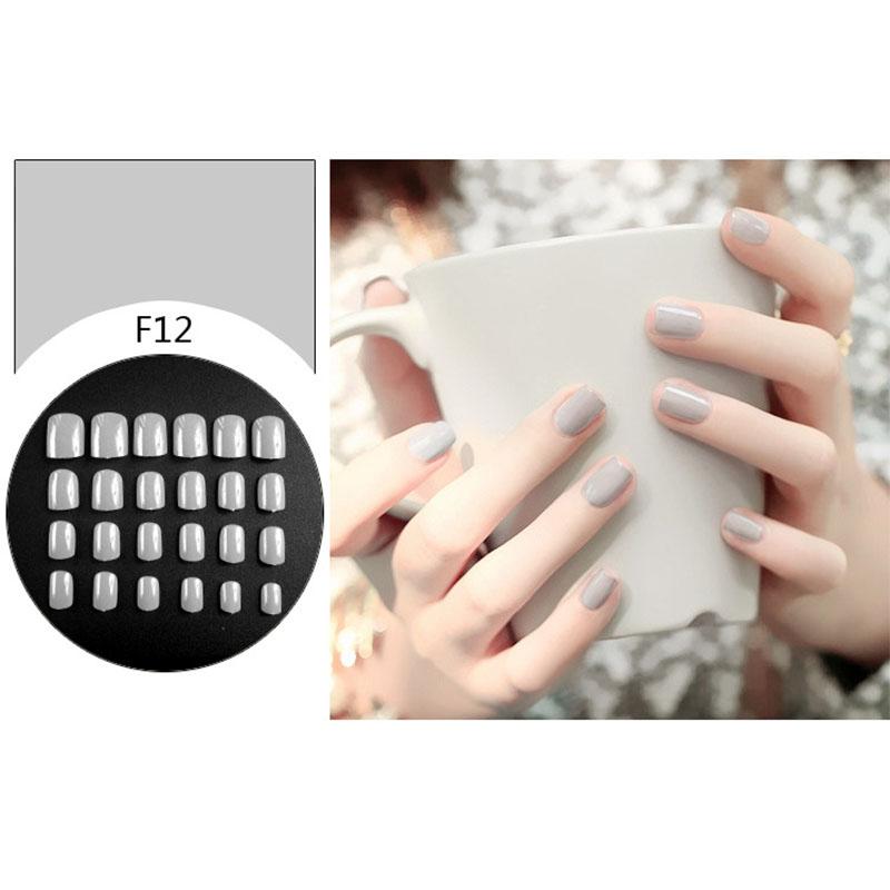24 Pcs Simple Solid Color Fake Toe Nails Sticker False Nail Tips