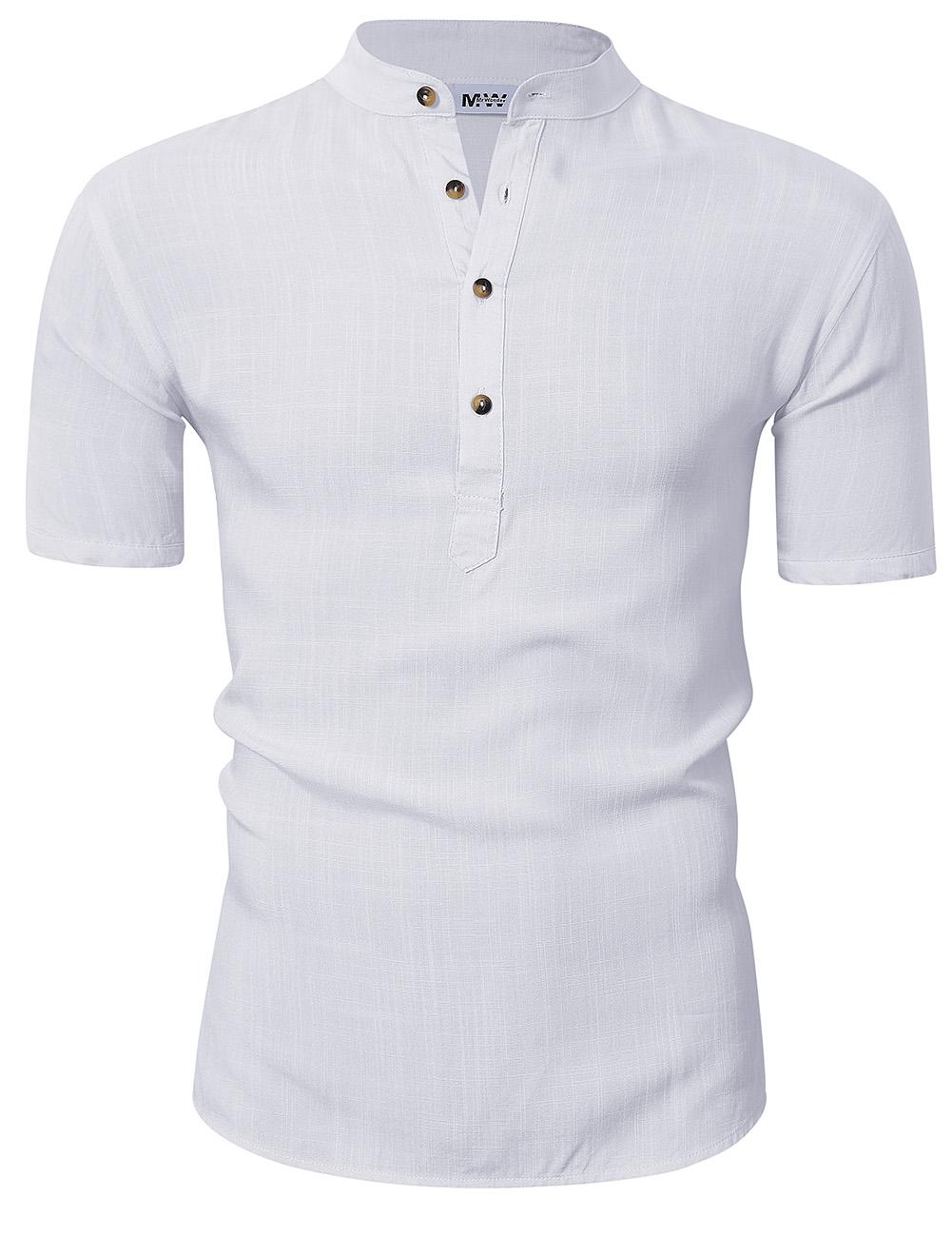 MrWonder Men Casual Henley Neck Short Sleeve Linen Shirt