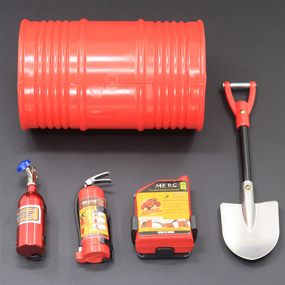 5Pcs/Set RC Rock Crawler 1:10 Accessories Oil Drum Fuel Tank Fire Extinguisher Shovel for Axial SCX10 TAMIYA CC01 RC4WD D90 D110 TF2 RC Car  red