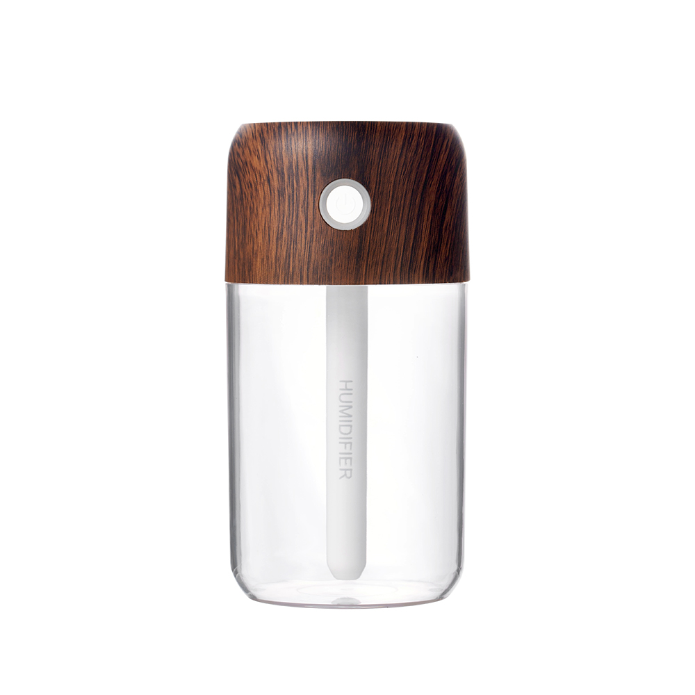USB Humidifier Wood Grain Colorful Bottle Silent Night Light Mist Maker Car Moisturizer white