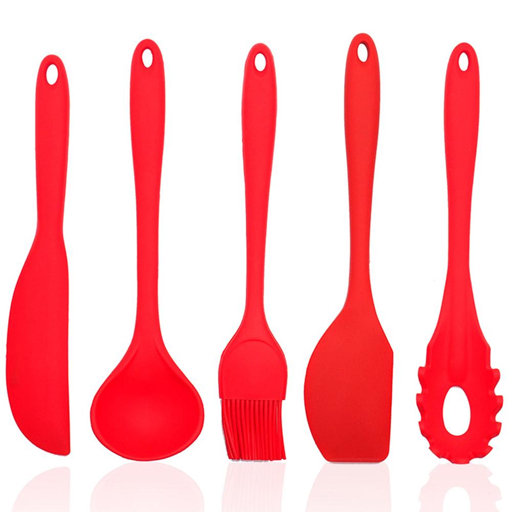 5Pcs/Set Silicone Scraper Cream Spatula Blade Brush Batter Mixing Baking Tool 5Pcs