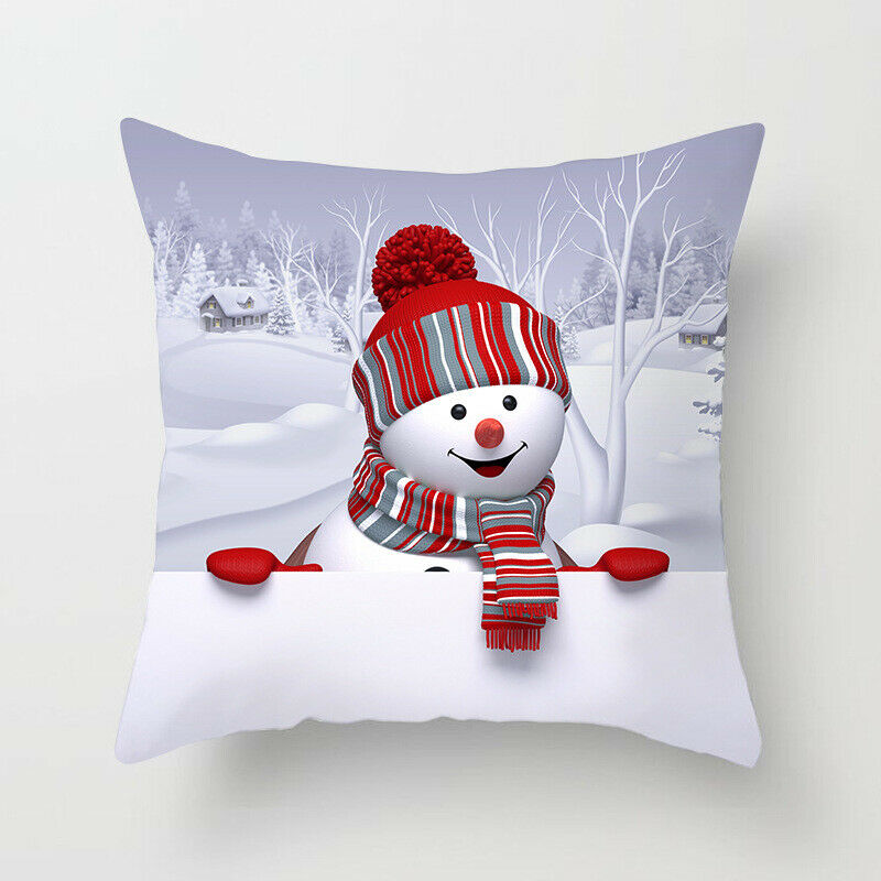 45*45cm Christmas Xmas Decorative Snowman Polyester Cushion Pillowcase Pillow Cover for Bedroom Living Room B