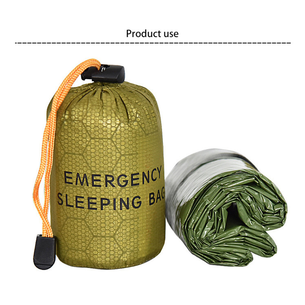 Emergency Sleeping  Bag First Aid Rescue Blanket With Whistle+small Outer Bag Green sleeping bag + tail clip outer bag