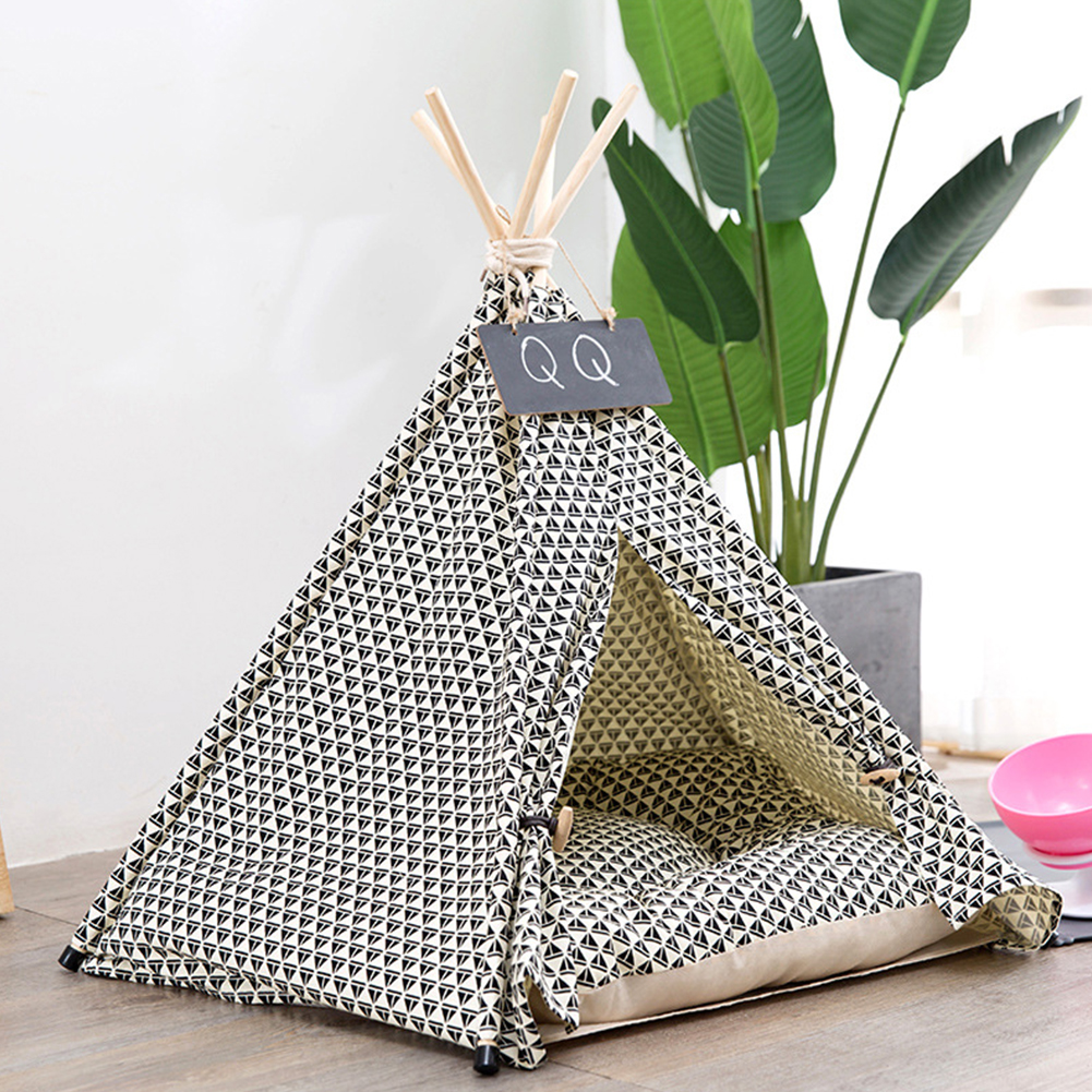 Washable Folding Pet Nest Removable Canvas Sleeping Tent for Dogs Cats