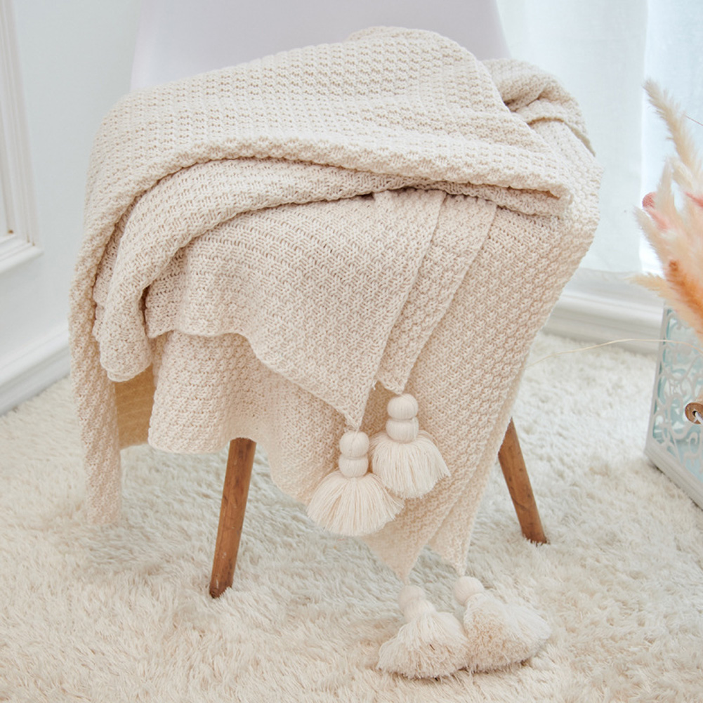 Nordic Tassels Knitted Blanket Pineapple Texture Air Conditioning Sofa Cover Blanket Beige