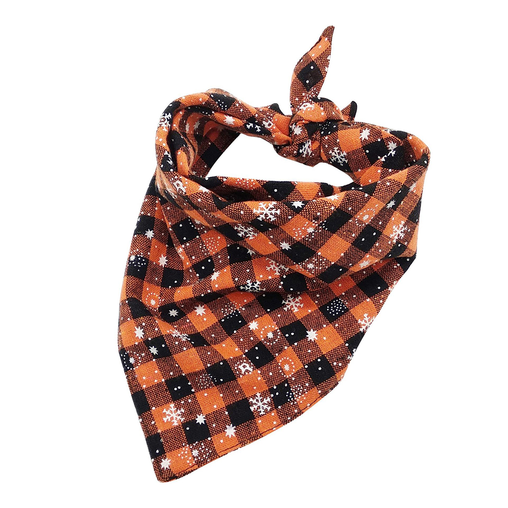 Christmas Series Printing Triangular Scarf for Pet Dogs Wear Orange snowflake
