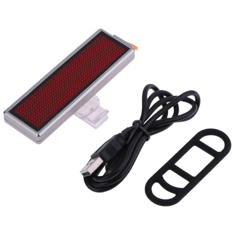 Bicycle Taillight DIY Message Moving Scrolling USB Charging Creative LED Outdoor Warning Light Silver border