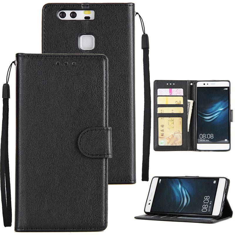 For Huawei P9 plus PU Leather Smart Phone Case Protective Cover with Buckle & 3 Card Position  black