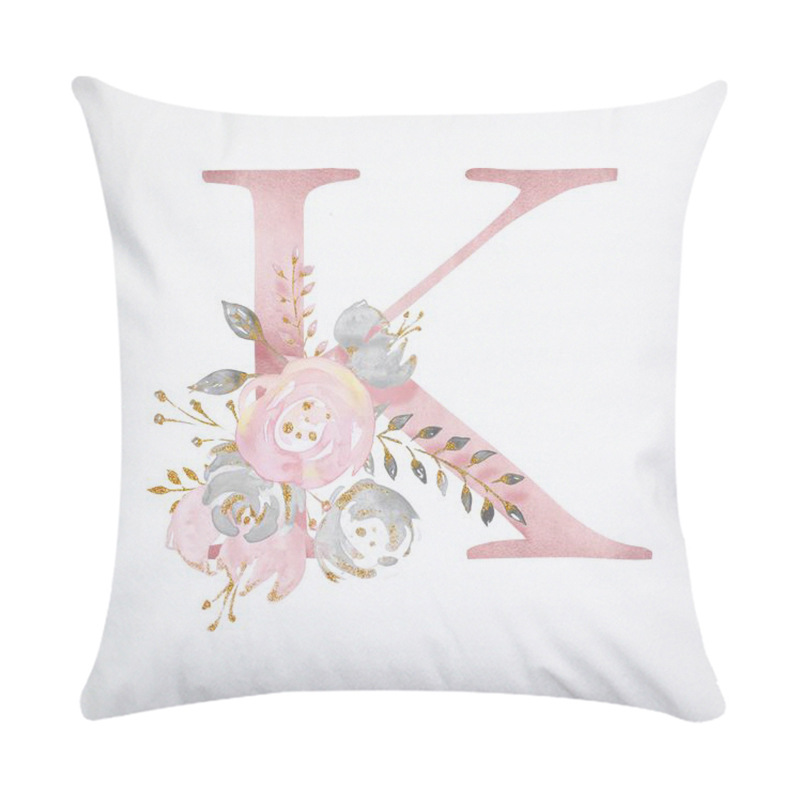 Pink Letter Printing Polyester Peach Skin Throw Pillow Cover 11#_45*45cm