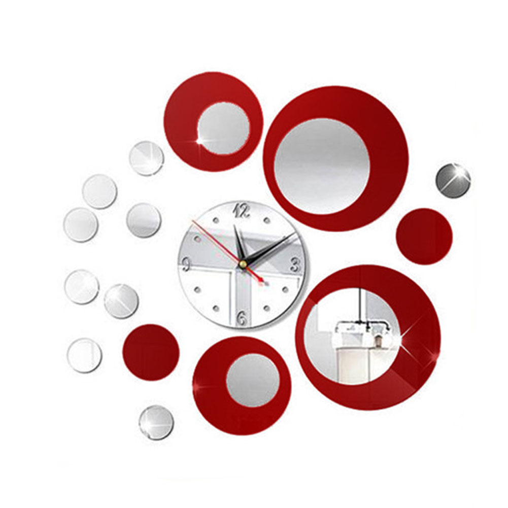 Modern Circles Acrylic Red Mirror Style Wall Clock Removable Non-toxic Decal Art Sticker Decor creative DIY Wall Sticker Red silver