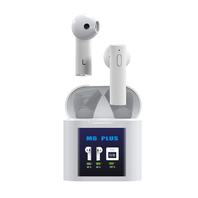 Temperature Measuring Wireless Bluetooth Led Display Mini Sports Headset white