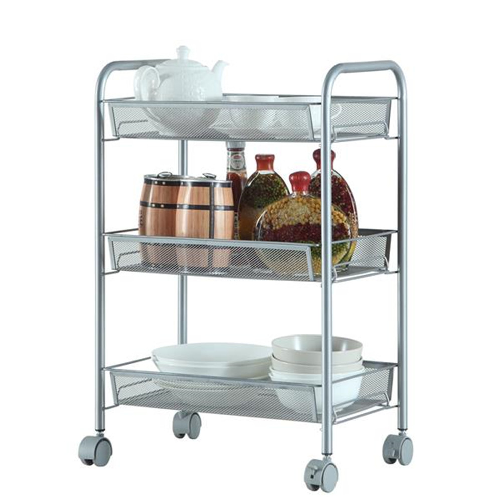 [US Direct] Carbon Steel Honeycomb Mesh 3 Layers Removable Storage  Cart 44 X 26 X 62cm Silver