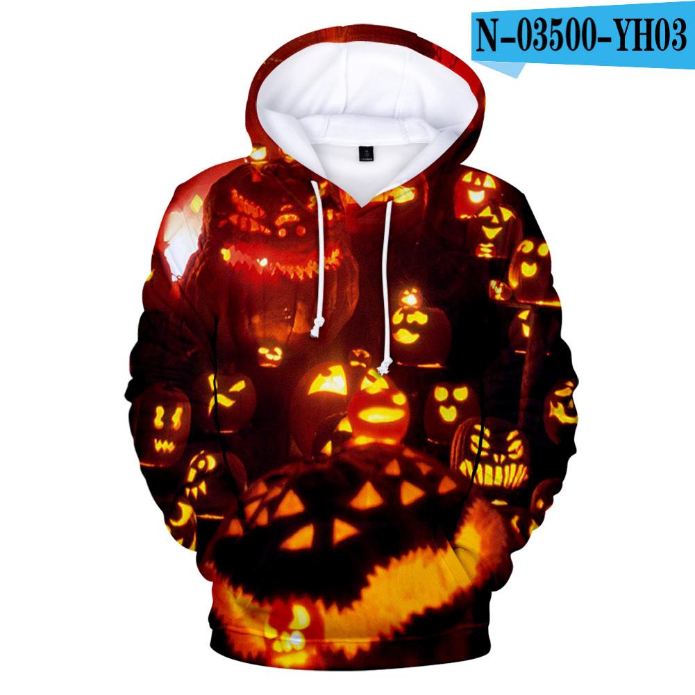 3D Digital Printing Halloween Pumpkin Pattern Hooded Sweatshirts for Men Women N-03500-YH03 B style_L