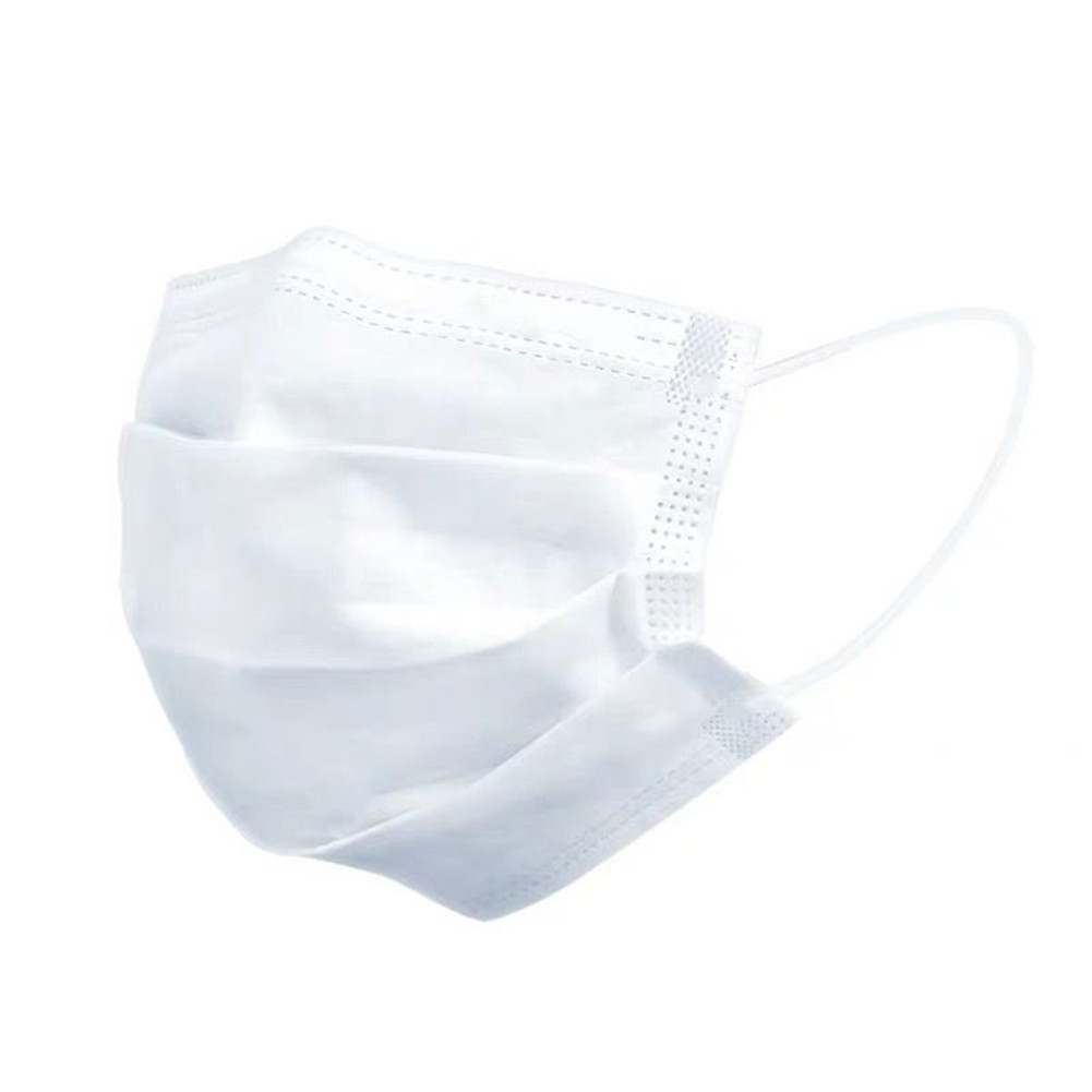 Disposable Non-woven Three-layer Mask Blue Hang Ear Style Protective Mask  white 1pc