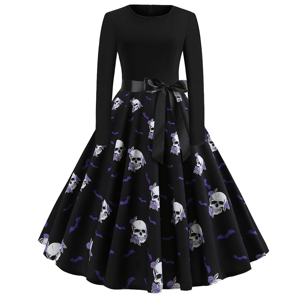 Halloween Pumpkin Print Dress with Long Sleeves and Belt JY13071_S