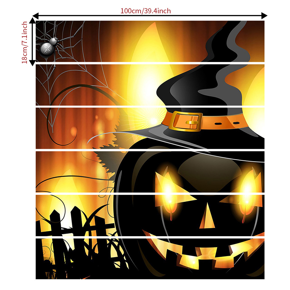 6Pcs Halloween Stair Stickers Flame Pumpkin Self-Adhesive Removable Waterproof Staircase Stickers Staircase sticker AFLT029 18*100*6CM
