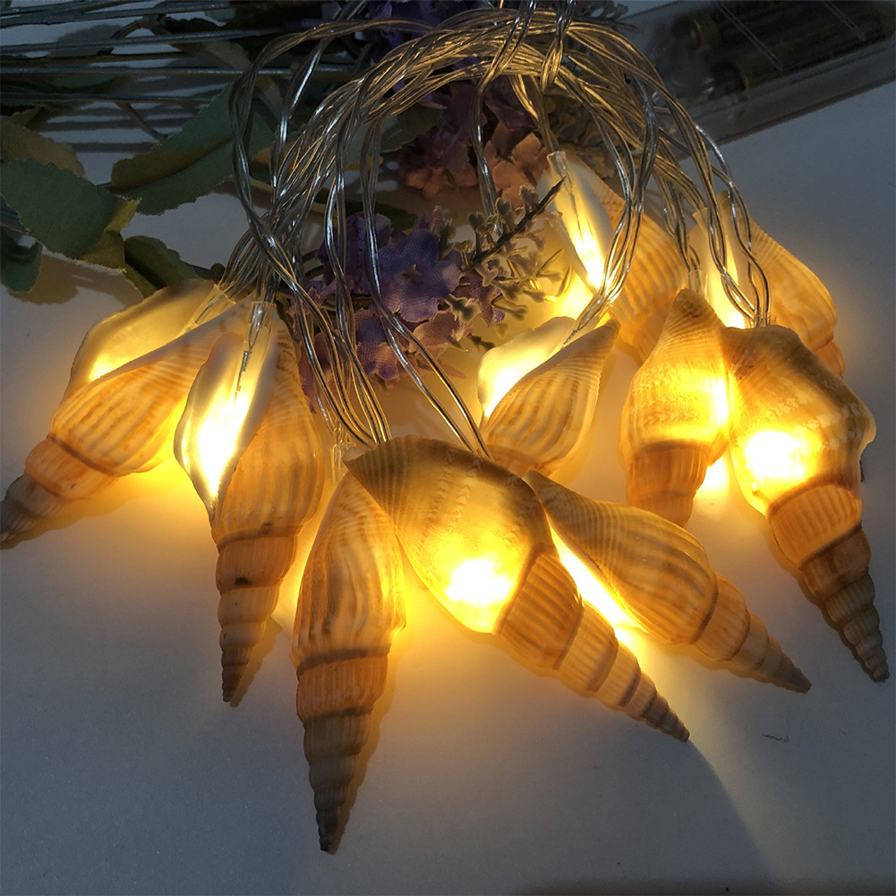 String Lights Warm White Lighting Lovely Beach String Light Battery Operated for Holiday Wedding Home Window Decoration  Long conch