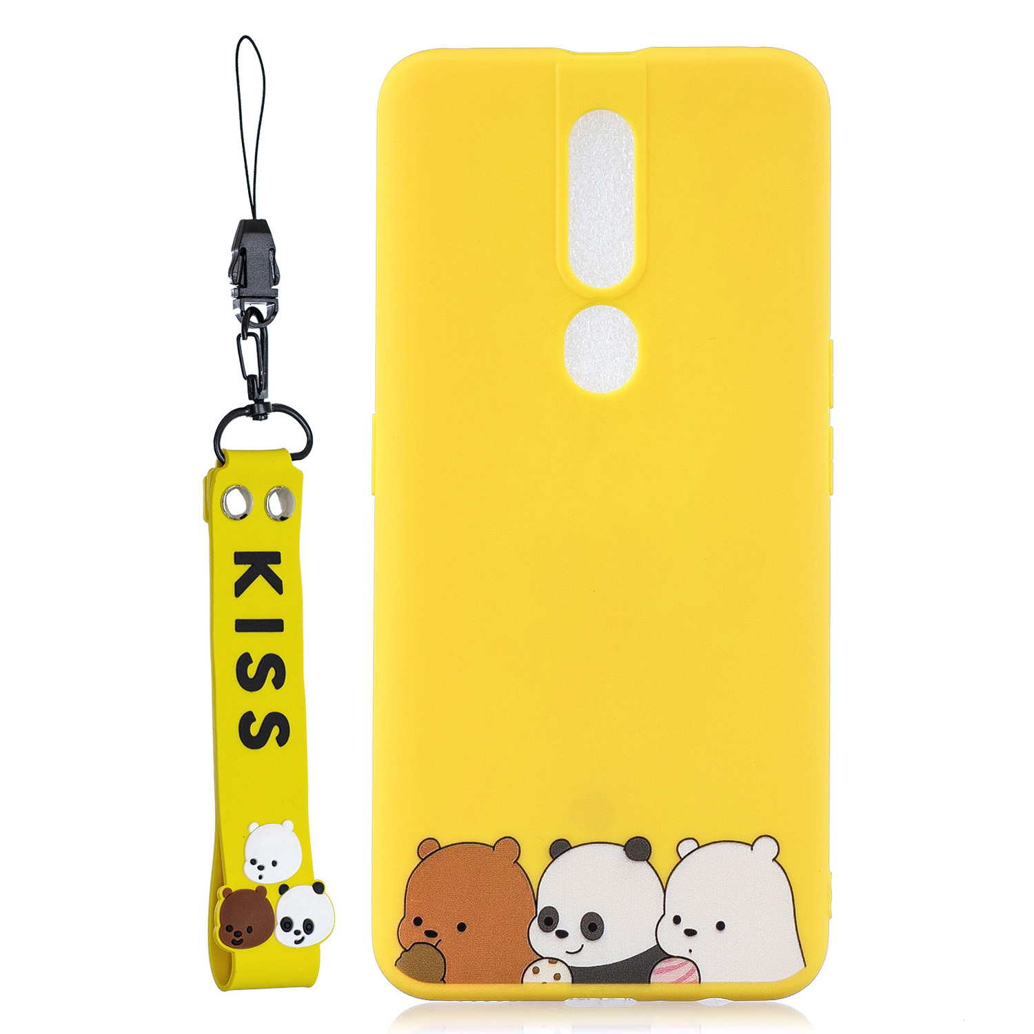 For OPPO F11 PRO Cartoon Lovely Coloured Painted Soft TPU Back Cover Non-slip Shockproof Full Protective Case with Lanyard yellow