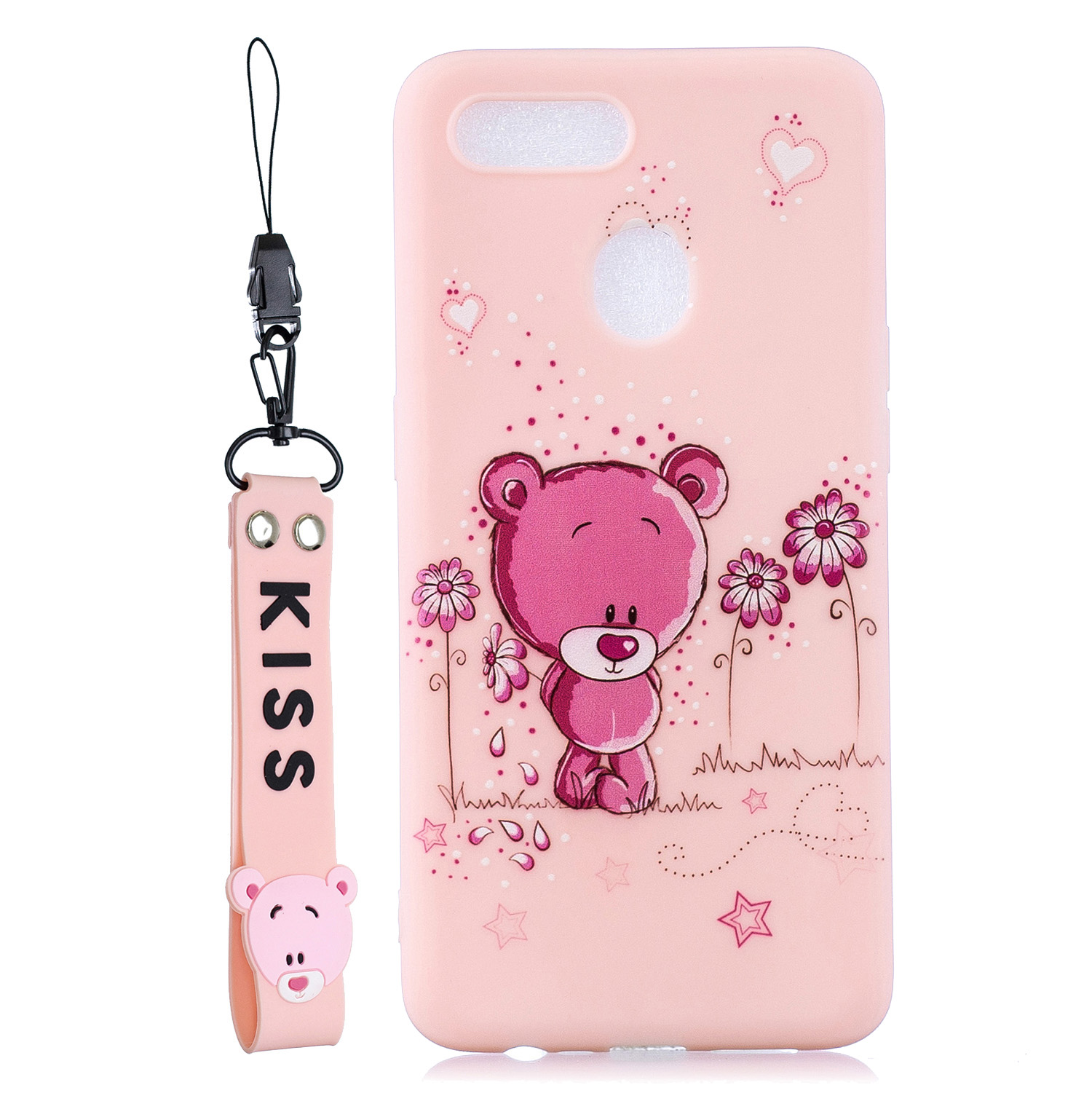 For OPPO A7 Cartoon Lovely Coloured Painted Soft TPU Back Cover Non-slip Shockproof Full Protective Case with Lanyard Light pink