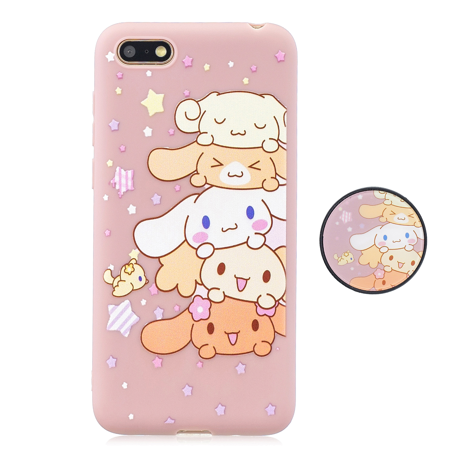 For HUAWEI Y5 2018 Pure Color Phone Cover Cute Cartoon Phone Case Lightweight Soft TPU Full Cover Phone Case with Matching Pattern Adjustable Bracket 1