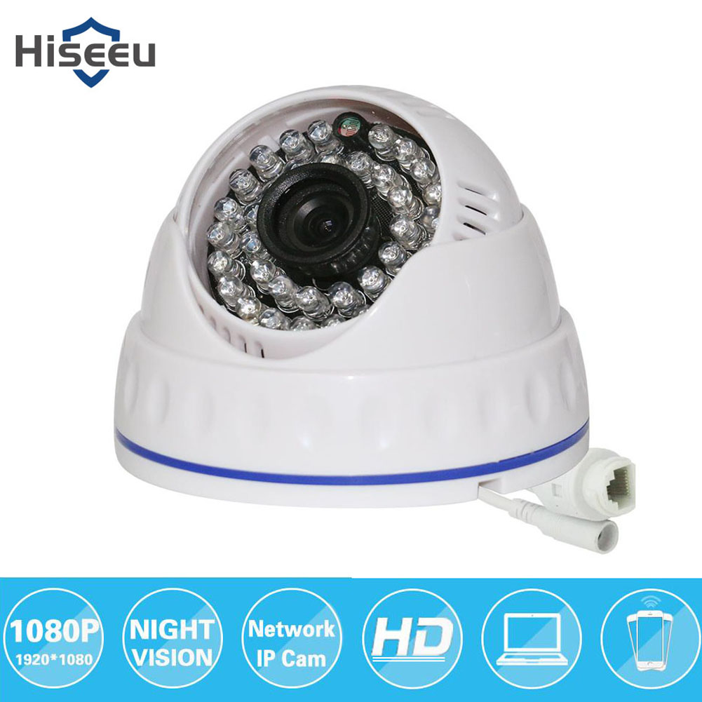 Hiseeu HCR512 1080P 2.0MP Mini Dome Security IP Camera IR CUT Night Vision Motion Detection Camera white