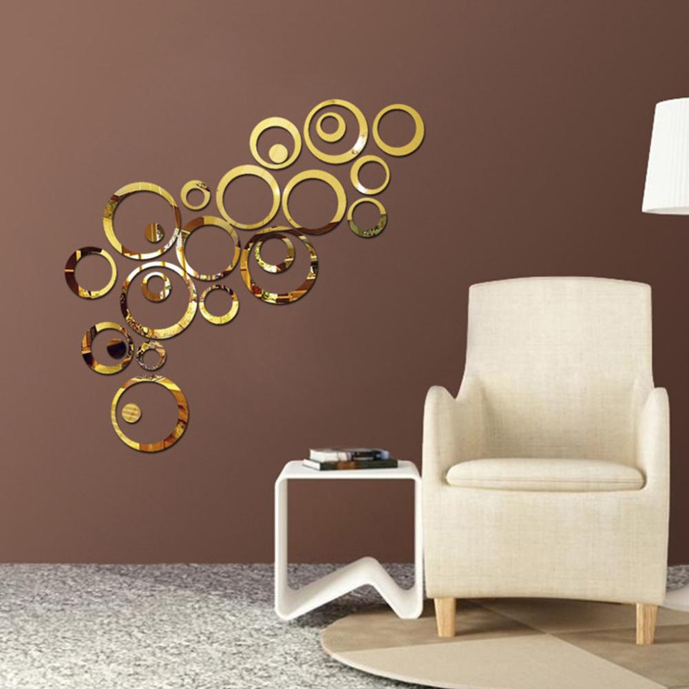 DIY Decorative Mirror Wall Sticker for TV Background Home Decor Modern Decoration Wall Art Gold