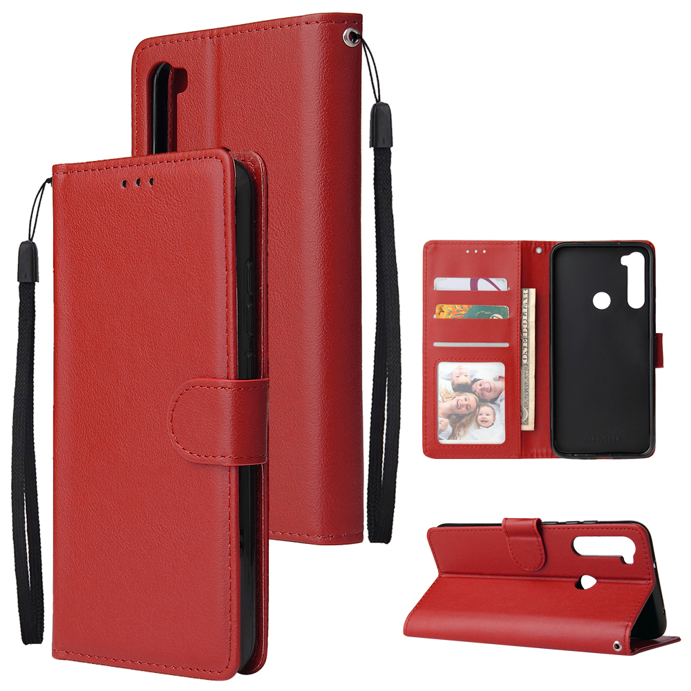 For Redmi NOTE 8 PU Leather Front Putton Protective Phone Case with 3 Cards Bracket red