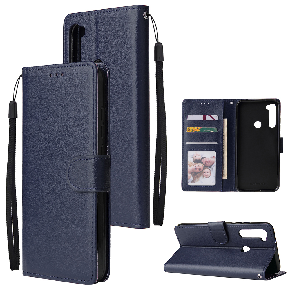 For Redmi NOTE 8 PU Leather Front Putton Protective Phone Case with 3 Cards Bracket blue