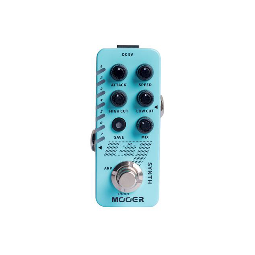 E7 Electric Guitar Effects 7 Polyphonic Synthesizer Sounds Guitar Pedal Arpeggiator Mode String Instrument Accessory Light blue