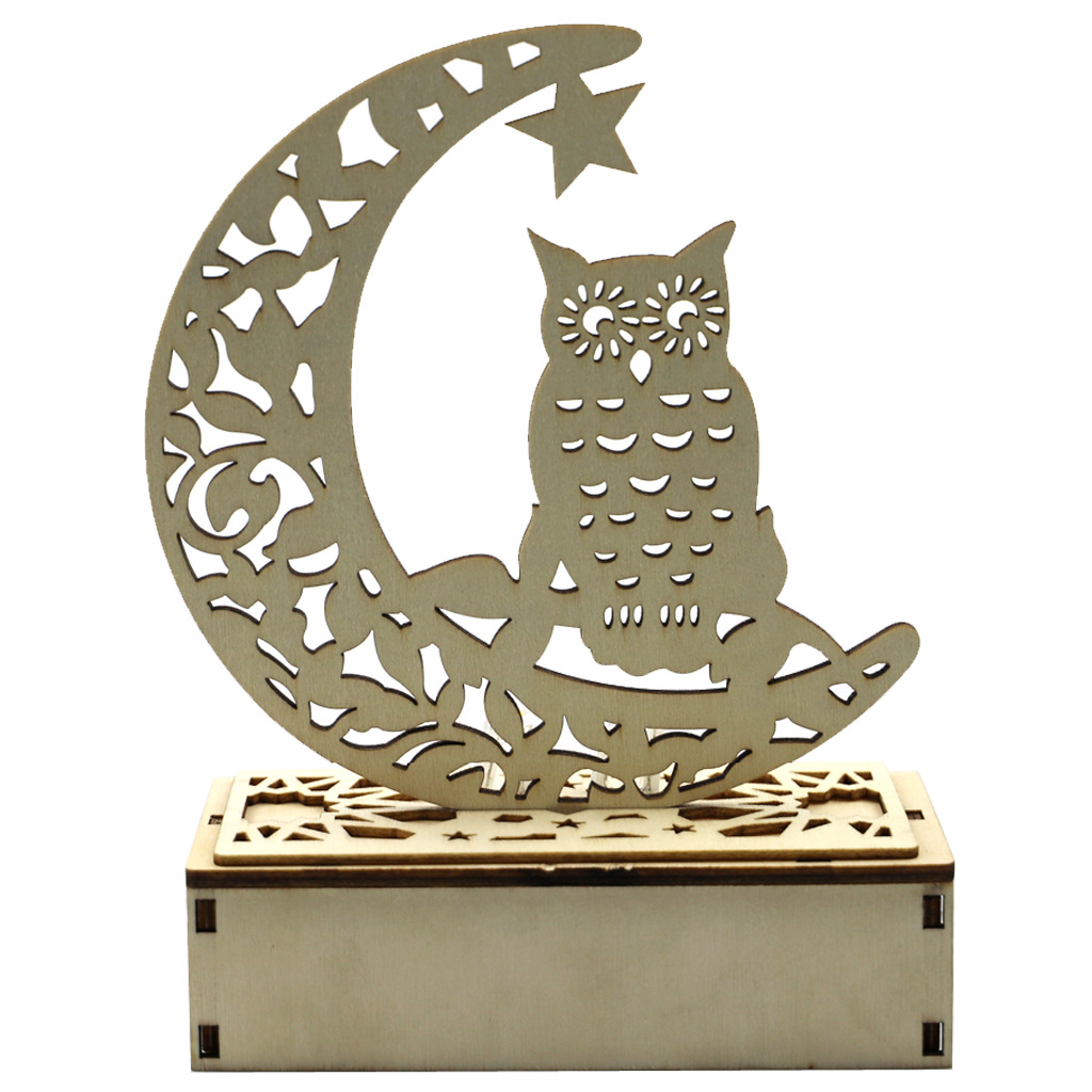 Wooden Halloween Ornament Carving Hollowed Moon Witch Decor with LED Light JM01995