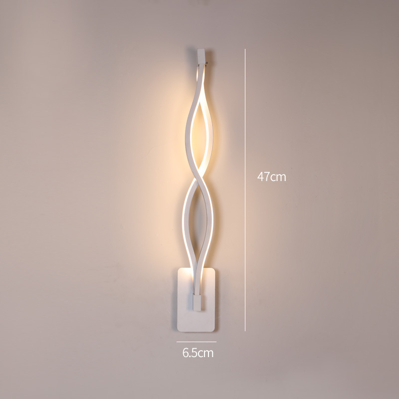 LED Nordic Style Wall Lamp for Living Room Bedroom Bedside Lighting Decoration C white-warm light_monochromatic light