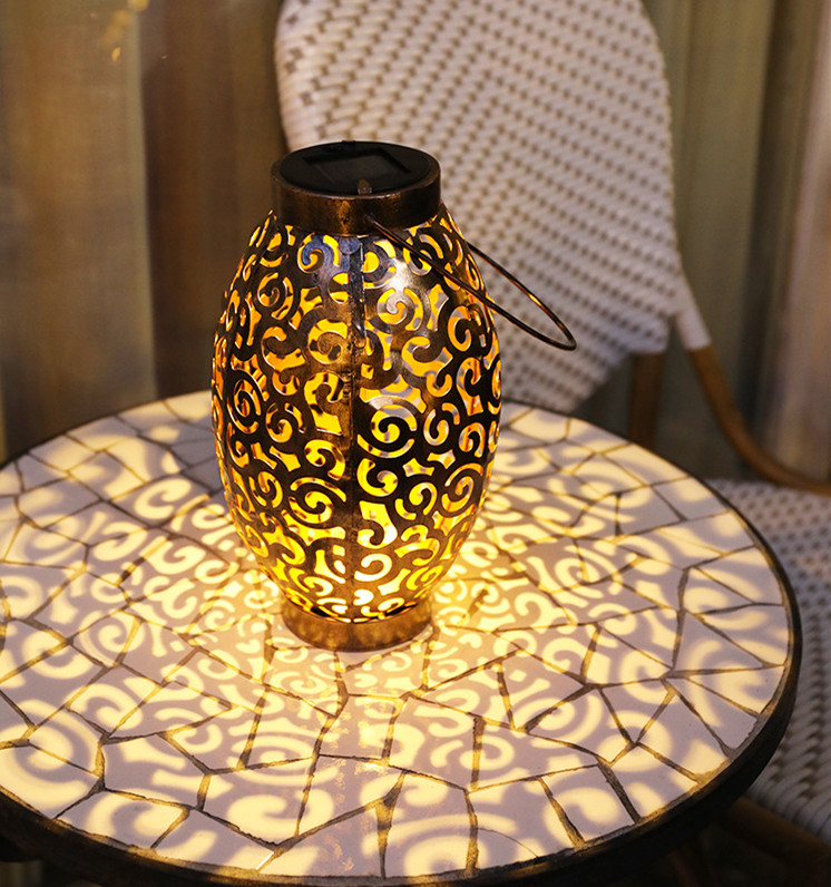 LED Solar Lanterns Outdoor Hanging Decorative Night Light for Table Patio Courtyard Garden  warm light_Oval