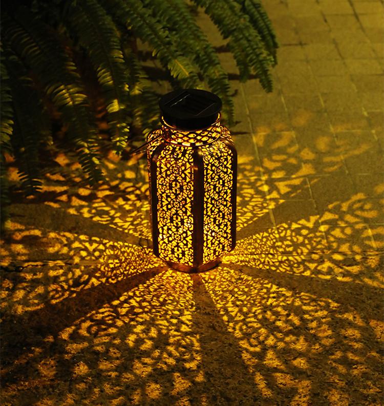 LED Solar Lantern Outdoor Solar Metal Hanging Light for Patio Courtyard Party Walkway Terrace Garden Lawn Decor warm light_Hexagon