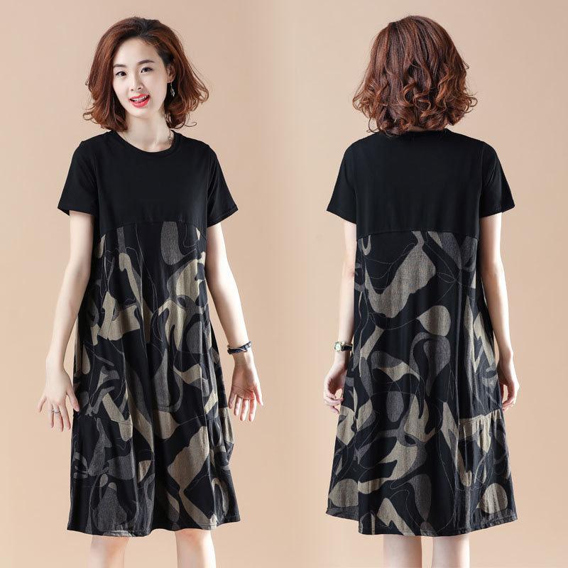 Women Summer Loose Short Sleeve Dress black_3XL