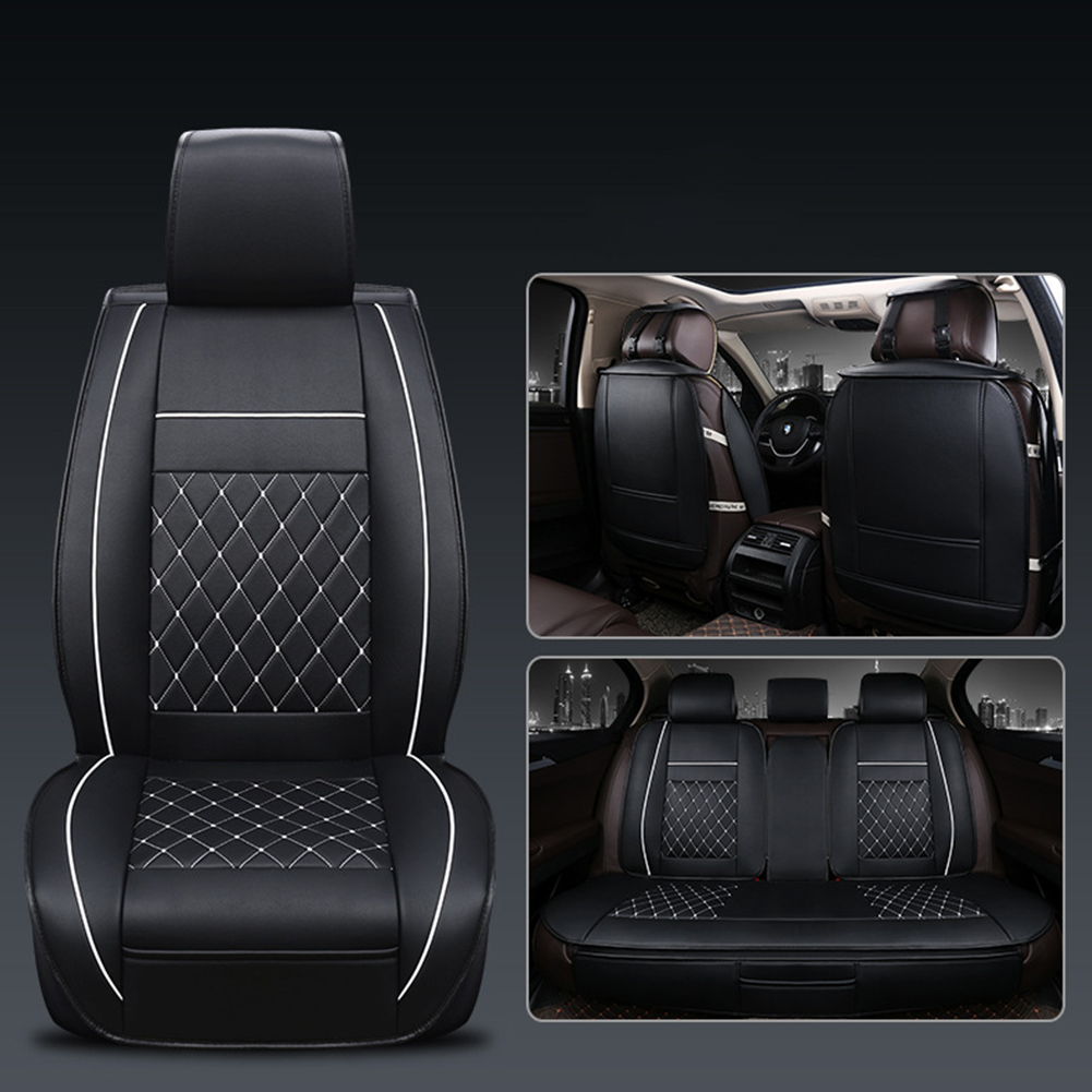 Universal All Car Leather Support Pad Car Seat Covers Cushion Accessories Black and white standard edition single