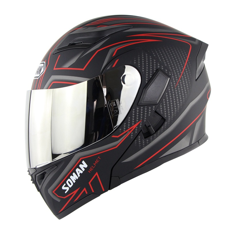 Cool Unisex Double Lens Flip-up Motorcycle Helmet Off-road Safety Helmet Line red with silver lens_L