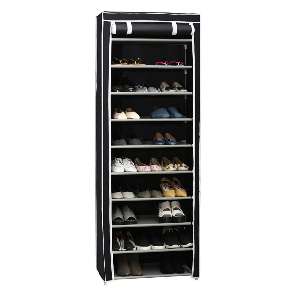 Simple 10 Layers Shoes Rack with Curtained Door Assemble Shoe Cabinet for Home Storage black